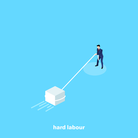 a man in a business suit pulls a heavy block, an isometric image Ilustrace