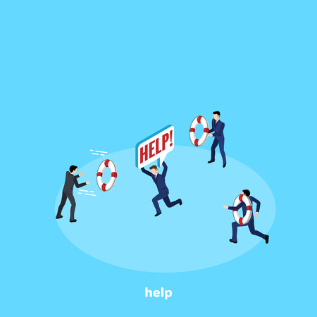 men in business suits flee to help their colleague, isometric image