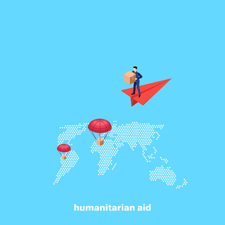 a man in a business suit is standing on a flying paper airplane and is dropping boxes with humanitarian aid, an isometric image