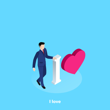 a man in a business suit stands next to the inscription I and the heart icon, isometric image