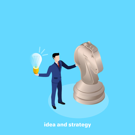 a man in a business suit stands next to a chess piece of a horse and holds a light bulb, an isometric image