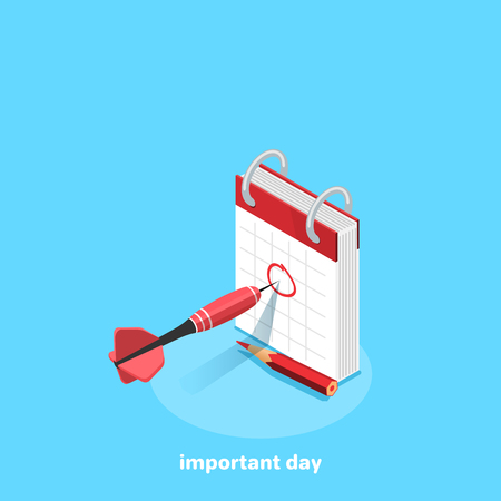 tear-off calendar with a protruding dart from a dart on a blue background, an isometric image