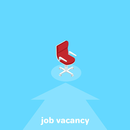 Empty chair on the pedestal designating the vacant workplace, isometric image Illustration