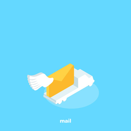 car delivering mail, isometric image