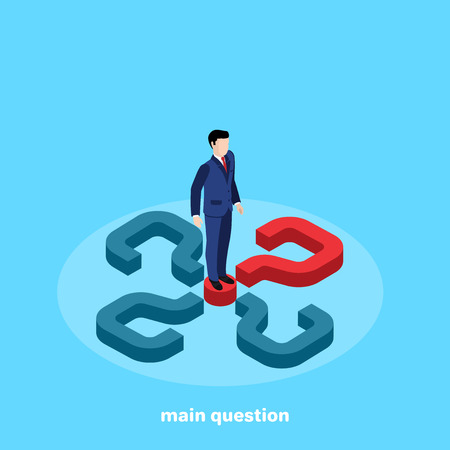 man in a business suit stands on a red question mark on a blue background, isometric image 向量圖像