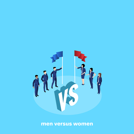 competition between two business teams, men and women in business suits, isometric image