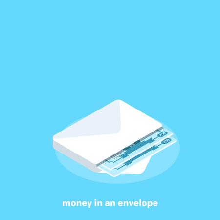 money in an envelope on a blue background, isometric image