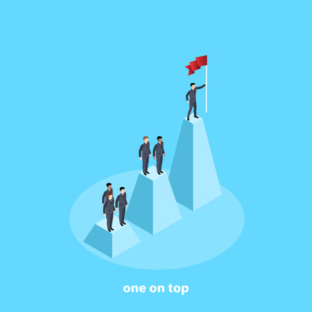 a man in a business suit with a flag in his hand is standing on the highest column of the chart, an isometric image Illustration