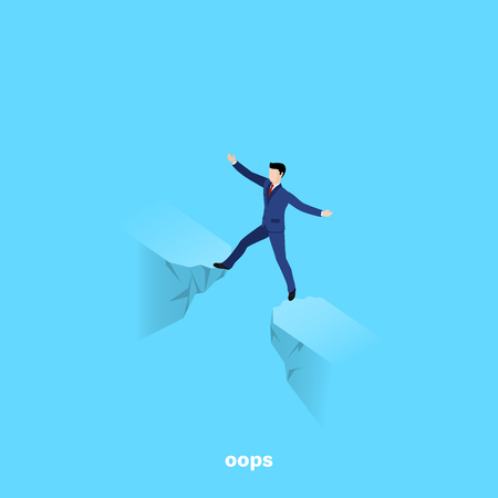 a man in a business suit stands between two edges of the abyss, an isometric image Иллюстрация