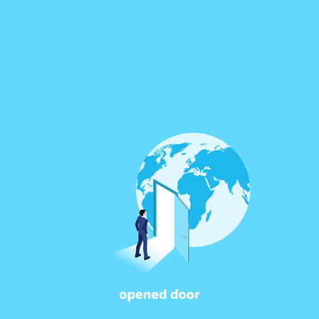 a man in a business suit walks into an open door in the globe, an isometric image