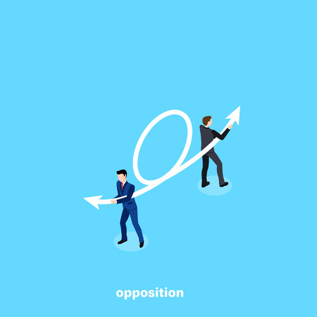 Men in business suits draw an arrow in opposite directions, an isometric image