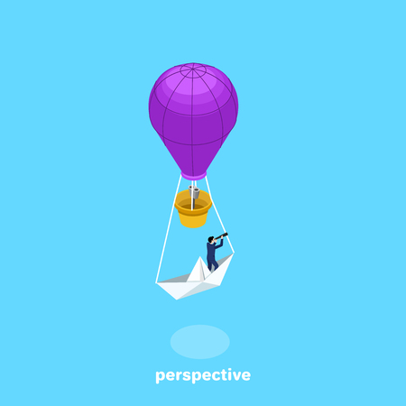 a man in a business suit is standing on a paper boat attached to a flying balloon, an isometric image Illustration