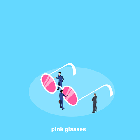 men in business suits and glasses with pink glasses on a blue background, isometric image