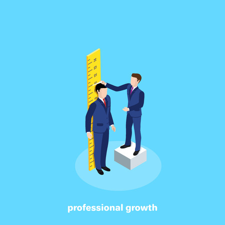 a man in a business suit stands at the ruler and the second measures his growth, an isometric image 向量圖像