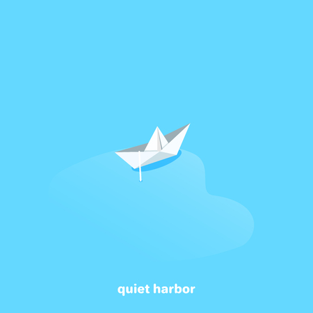The paper boat is anchored in a quiet bay, an isometric image