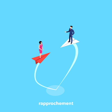 a man in a business suit is flying on a paper plane to meet a woman in a pink dress on a red airplane, an isometric image