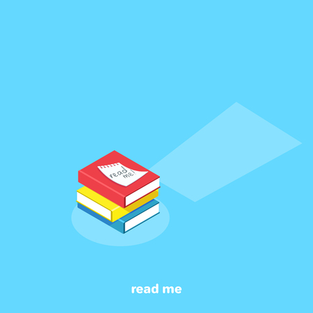 books on a blue background and a note, isometric image