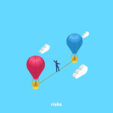 a man in a business suit walks along a tight rope between flying balloons, an isometric image