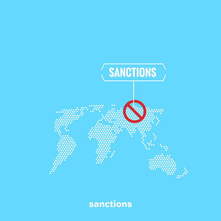 a world map on a blue background and a prohibition sign with a sanction