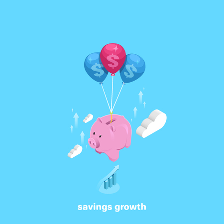 piggy bank on inflatable balls flying to the top, isometric image Ilustrace