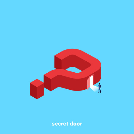 big red question mark on a blue background and a man in a business suit entering an open door, an isometric image