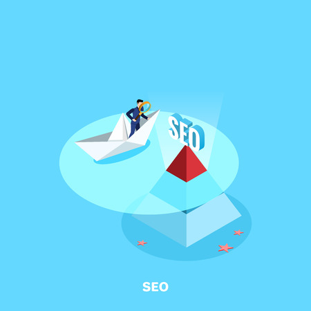 A man in a business suit with a magnifier on a paper boat and a pyramid top with an inscription sticking SEO out of the water, an isometric image