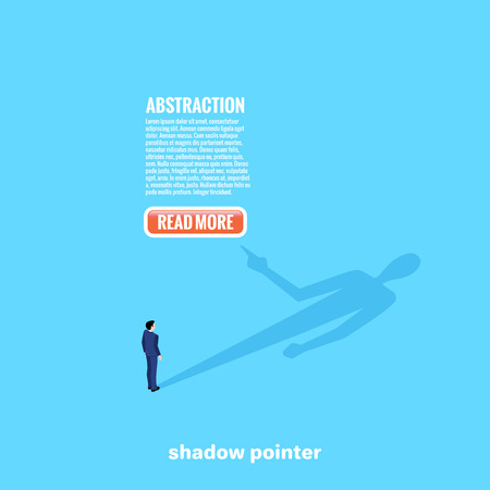 A man in a business suit looks at his shadow which suggests on the press on a web button, an isometric image