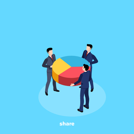 men in business suits hold a circular chart, an isometric image Illustration