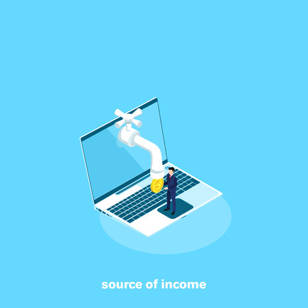 from the screen of the laptop sticks out the crane from which the coin drops, isometric image