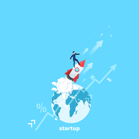 a man in a business suit is standing on a flying rocket and the globe, isometric image