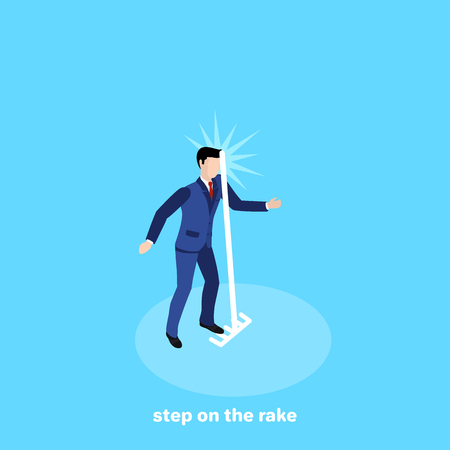 the man in a business suit stepped on the rake, isometric image