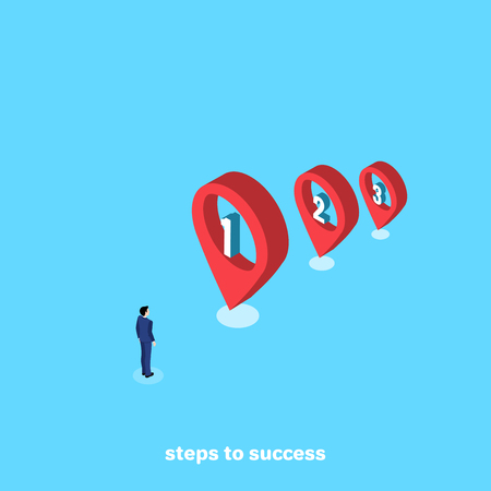 a man in a business suit stands at the beginning of a step-by-step path, an isometric image