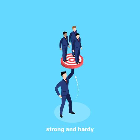 un uomo in giacca e cravatta tiene tre persone in una mano, un'immagine isometrica Vettoriali