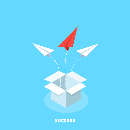 paper airplanes flying out of the open box in different directions, isometric image