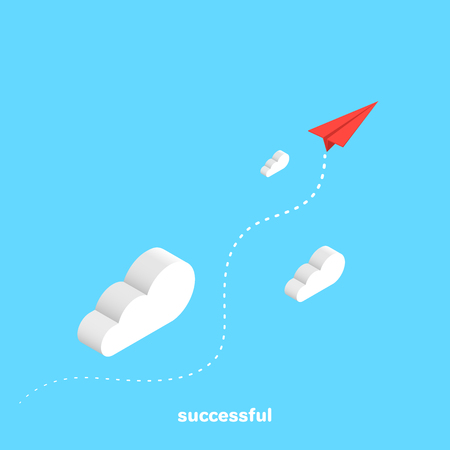 red paper plane flies through the clouds, isometric image