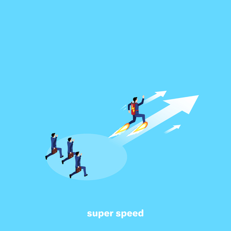 a man in a business suit with a battery on his back running along the arrow forward to success, an isometric image