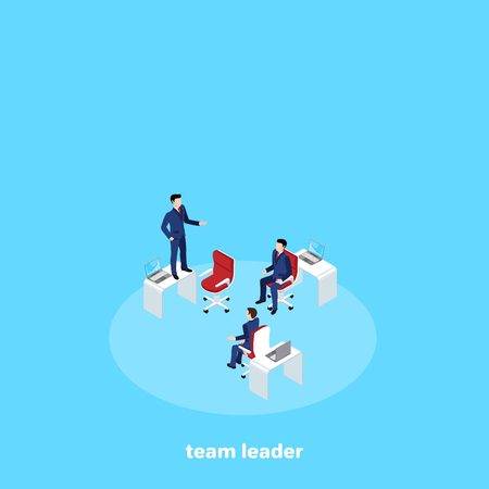 people in business suits work in a team, an isometric image