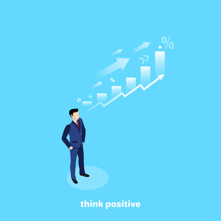 a man in a business suit on a blue background and his thoughts on financial growth, an isometric image