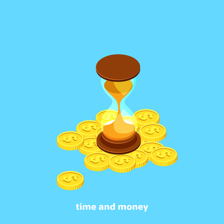 hourglass on a pile of coins, isometric image