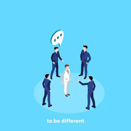 men in business suits criticize a different man from them in a white suit, an isometric image Illustration