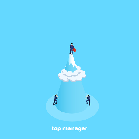 a man in a business suit and a cloak of a super hero stands on top of a mountain above the clouds, an isometric image Иллюстрация