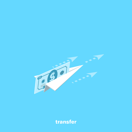 A paper airplane flies with a bill inserted into it, an isometric image