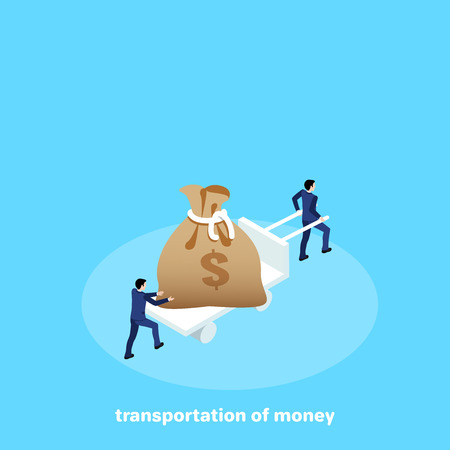men in business suits carry a wheelbarrow with a bag of money, an isometric image
