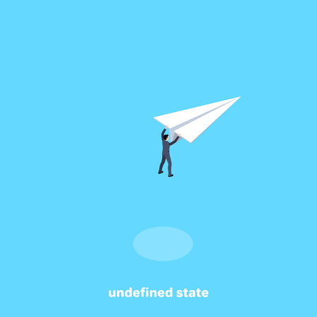 a man in a business suit grabbed a flying paper airplane, an isometric image