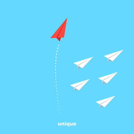 red paper airplane flies in the opposite direction from a group of other airplanes, isometric image