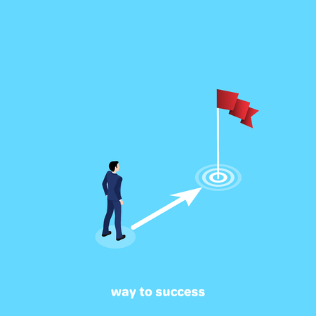 a man in a business suit stands before an arrow pointing at a flag, an isometric image Illustration
