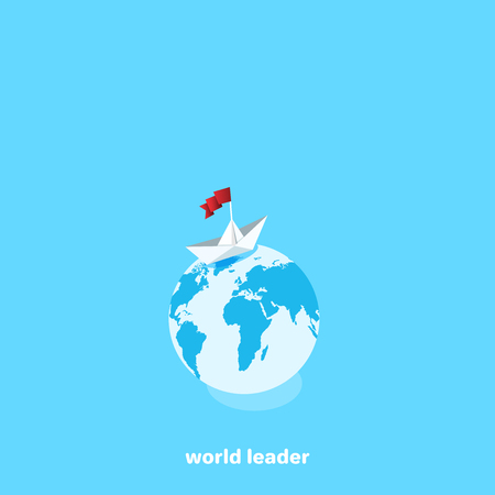 Paper boat with flag on top of the globe, isometric image