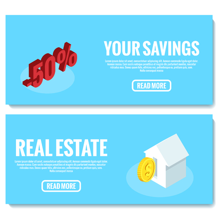 banner for a site for the sale of cheap housing, isometric image