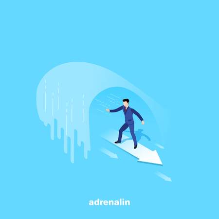 a man in a business suit on an arrow swims under a large wave, an isometric image Stock Vector - 111875743