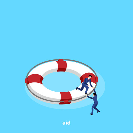 a man in a business suit helps another to climb onto a lifebuoy, an isometric image